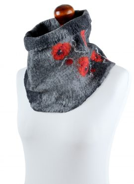 Felt cowl scarf in gray with red poppies