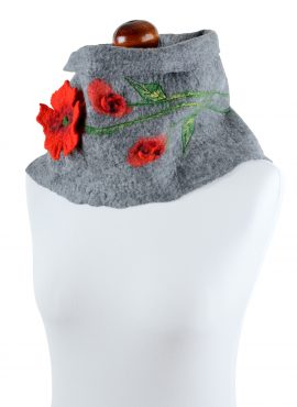 Gray cowl scarf for women with red flower