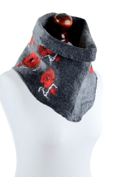Gray snood scarf for women with poppies