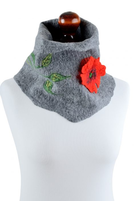 Gray tube scarf for women with red flower