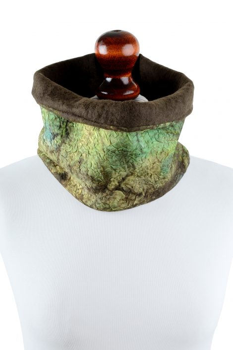 Lined snood scarf for women in green and brown