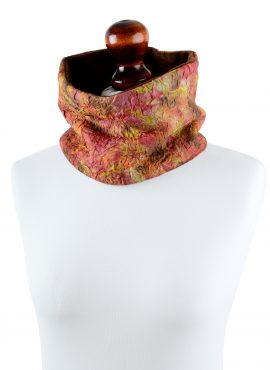 Lined snood scarf for women made of luxury materials in nuno felting technique