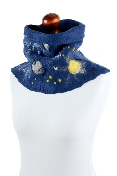Navy blue cowl scarf for women with space motif