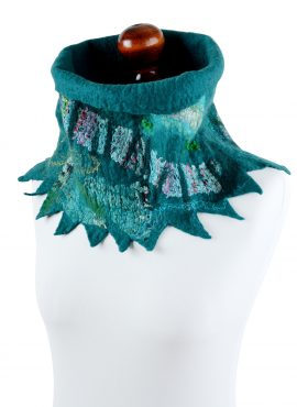 Teal cowl scarf for women with unique design