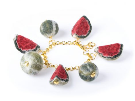 Felted watermelon bracelet