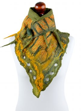 Triangle felt scarf in yellow and green