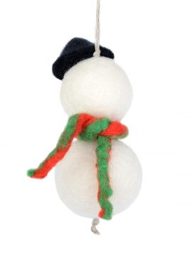 Felted snowman ornament to hang on a Christmas tree