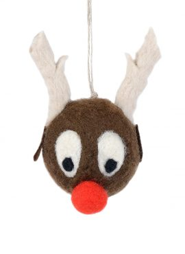 Felted reindeer ornament for Christmas tree