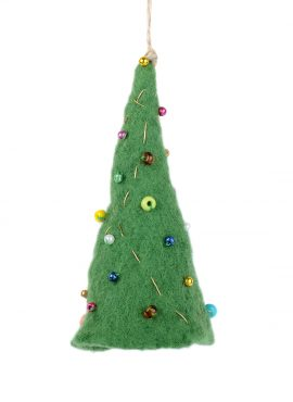 Hanging holiday ornament in the shape of mini Christmas tree