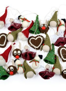 Mix of felted Christmas ornaments
