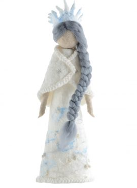Snow Queen figurine with frozen crown and long hair