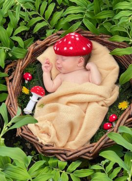 Felted toadstool hat for newborn baby